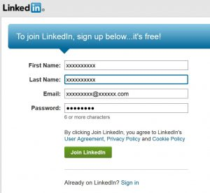 linked in sign up