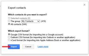 تصدير جهات اتصال gmail